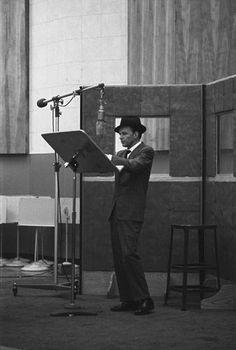 Frank Sinatra in the recording studio circa 1959
