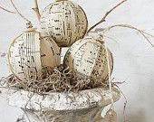 ornaments out of sheet music. So pretty!