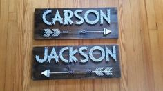 Large Rustic Woodsy Name String Art with Arrow, Arrow string art, personalized art, Baby shower gift, nursery decor, kids room wall decor - pinned by pin4etsy.com