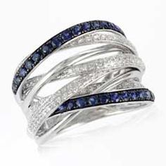 EFFY™ Collection Sapphire and 3/8 CT. T.W. Diamond Orbit Ring in 14K White Gold