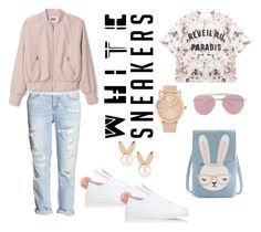 """white sneakers rabbit"" by senyoritacuba ❤ liked on Polyvore featuring Minna Parikka, H&M, Momewear, Aamaya by priyanka and Boohoo"