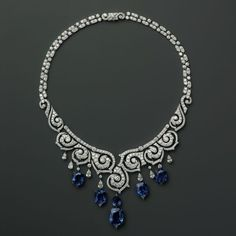 Cartier. Platinum necklace with sapphires and diamonds