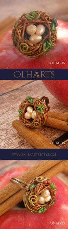 The ring of polymer clay. #OlhaARTS, #polymerclay, #polymer, #handmade #nest, #ring #полимернаяглина, #ручнаяработа, #кольцо, #гнездо, #украшение