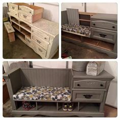 Old dresser turns into cute storage bench