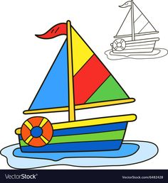 Sailing vessel Coloring book page vector image on VectorStock Oil Pastel Paintings, Oil Pastel Art, Easy Drawings For Kids, Drawing For Kids, Daily Drawing, Drawing Lessons, Art Lessons For Kids, Art For Kids, Door Decoration For Preschool
