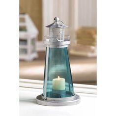 Blue Glass Lighthouse Candle Lantern Nautical Decor