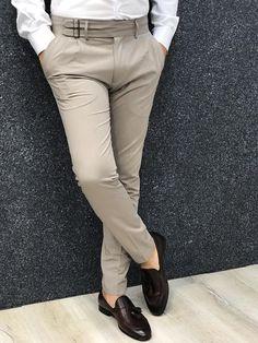 Fabros Beige Slim Fit Pants - Men Dress Pants - Ideas of Men Dress Pants Nigerian Men Fashion, Indian Men Fashion, Mens Fashion Wear, Suit Fashion, Fashion Pants, Formal Dresses For Men, Formal Men Outfit, Slim Fit Dress Pants, Men Dress
