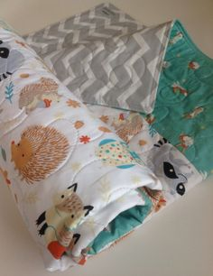 Baby Quilt Organic Gender Neutral Modern Baby by CoolSpool on Etsy, $105.00