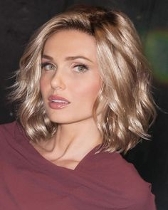 Soft and Subtle Petite/Average Lace Front & Monofilament Synthetic Wig by Gabor: Suitable for  Oval, Round, Square, Diamond, Heart and Oblong shaped faces.  Today's top crop. Tumbled waves in a blunt bob are stylized yet casual too. A flattering cut for many face shapes.