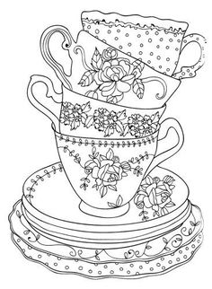 475 Best Coffee + Tea Coloring Pages for Adults images in