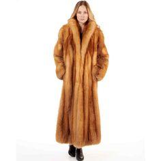 FRR Women's Natasha Full Length Red Fox Fur Stroller Coat ($4,000) ❤ liked on Polyvore featuring outerwear, coats, floor length coat, full length fox fur coat, long coat, long evening coat and fox coat