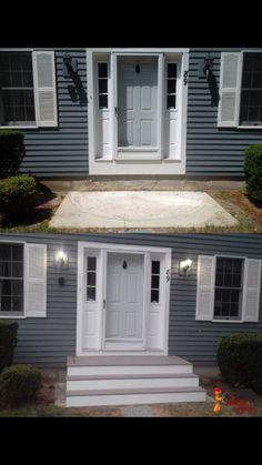 Back Porch Steps . Back Porch Steps . Terrific Ideas for Decks Front Porch Pergola, Front Porch Remodel, Concrete Front Porch, Small Front Porches, Front Porch Design, Front Deck, Porch Timber, Porch Designs, Gazebo