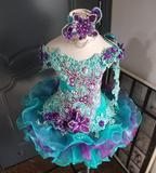 ( Off shoulder flared glitz national pageant dress. (teal green, purple) / 2 ~ 3 weeks production (*Without necklace) Pageant Dresses For Women, Toddler Pageant Dresses, Toddler Dress, Little Girl Dresses, Green And Purple, 3 Weeks, Evening Gowns, Perfect Fit, Shoulder