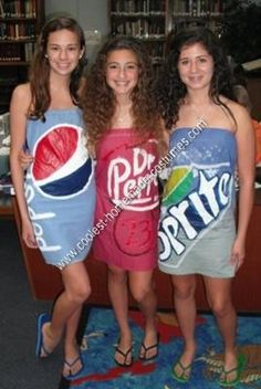 Homemade Soda Can Group Halloween Costume: Back in July of 2010, my friends and I were talking about Halloween. We wanted to be something that everyone would remember.  One of my friends came up
