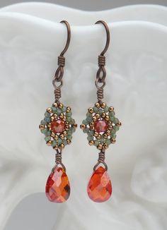 Beadwoven Drop Earrings / RedOrange Cubic by littlemusedesigns, $34.00