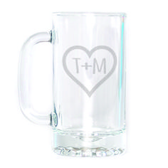 Beer Mug - Initials in Heart Personalized