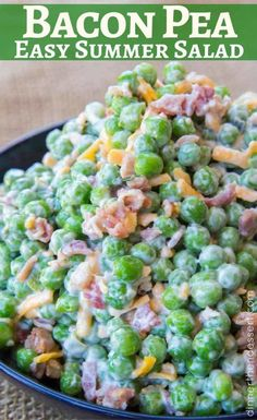 Creamy Bacon Pea Salad with mayonnaise, bacon, cheddar cheese and crunch peas. Creamy Bacon Pea Salad with mayonnaise, bacon, cheddar cheese and crunch peas. The perfect southern summer side dish! Easter Side Dishes, Summer Side Dishes, Camping Side Dishes, Cookout Side Dishes, Pea Salad Recipes, Vegetable Recipes, Chicken Recipes, Pea Recipes, Fruit Recipes