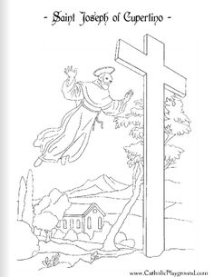 Saint Joseph of Cupertino Catholic coloring page #2: Feast day is September 18th