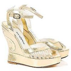 Terry de Havilland NEW Iconic Gold Leather Ankle Strap Margaux Wedges EU37 UK 4 for sale on Ebay now!