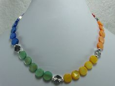 Rainbow Mother of Pearl Coin Beaded by NaturesJewelsByVina on Etsy, $29.99