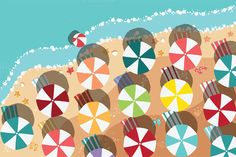 Check out Beach Flat Design - aerial view/03 by Blue Lela Illustrations on Creative Market