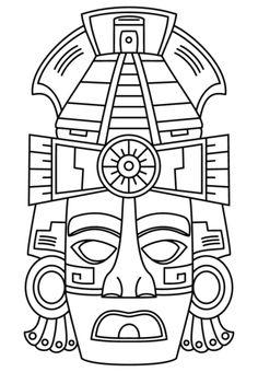 Máscara de Cara Maya Dibujo para colorear