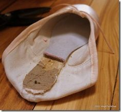 Seeking inside of pointe shoes