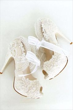 Brides Handfastings Shoes Weddings:  Lacy bridal #heels.
