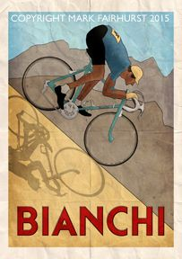 Bianchi discesa Poster Sizes Available 23 4 x 16 5 33 1 x 23 4 46 8 x 33 1 printed on quality heavy weight matt art paper signed by the Velo Vintage, Vintage Cycles, Vintage Ads, Vintage Posters, Old Bicycle, Bicycle Art, Bicycle Design, Cycling Quotes, Cycling Art
