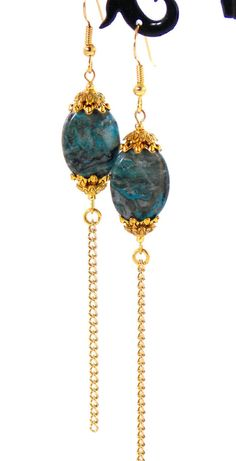 Check out these #earrings in my Etsy shop https://www.etsy.com/listing/243784367/blue-crazy-lace-agate-antique-gold-chain
