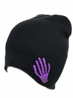 25300a66000 Purple Skeleton Hand Black Beanie Punk Gothic 3D Skull Death Winter Ski Cap  Hat  Clover  Beanie