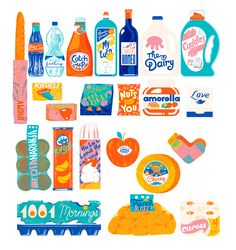 A fine art print entitled Grocery List by Sorina Vazelina! Digital Illustration, Graphic Illustration, Character Illustration, Typographie Logo, Freezer Recipes, Freezer Cooking, Freezer Meals, Cooking Tips, Kawaii