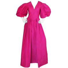 1960s Pauline Trigere Pouf Sleeve Vivid Pink Silk Dress | From a collection of rare vintage evening dresses and gowns at https://www.1stdibs.com/fashion/clothing/evening-dresses/