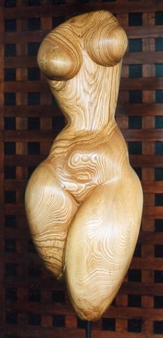 idol made from poplar wood, resembling the prehistoric female mother sculptures. see my other sculptures in wood and stone under please kindly respect intellectual property of Michael Priester, Obe...
