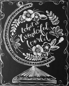 Wonderful World Social Art Working pattern in my own chalkboard design! Love! #hopemalott #studio511artandsoul #socialArtworking #wonderfulworld #chalkboard #globes