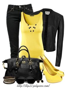 Black and Yellow by dlp22 on Polyvore featuring H&M, Reiss, Étoile Isabel Marant, Ted Baker, Coach, GUESS, Alicia Marilyn Designs, Acne Studios and Pim + Larkin
