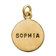 Personalzied Gold Large Disc Name Charm
