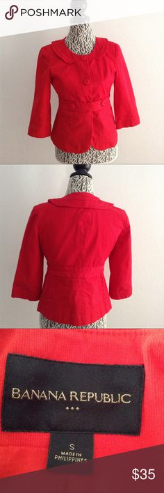 🌹 Red Banana Republic Jacket 🌹 No Flaws. Great Condition. 🌹 Adorable jacket!!! Fully lined 🌹 Measurements in pictures 🌹 Make an offer 🌹 No trades 🌹 Thanks for stopping by my closet!!! S2617 Banana Republic Jackets & Coats Blazers