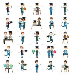 Boy Student Characters, Kid Professional Character Clip arts download for your kids. Big Premade set