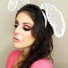 Cute White Bunny Halloween Makeup and Costume