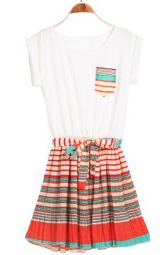 White Orange Sleeveless Striped Ruffles Pleated Dress - Sheinside.com