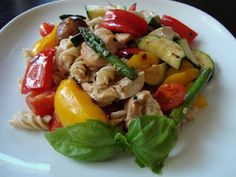 Easy summer pasta dish with grilled chicken and veggies