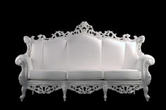 French Rococo Carved White 3 Seat Sofa- AFFORDABLE LUXURY! #FrenchRococo