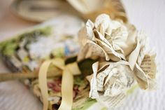 Stephanie and Francis' Alice in Wonderland Wedding. Paper flowers made by the bride from an old Alice in Wonderland book. Marie-Michele Hayeur Photography. See this diy wedding here..... @intimateweddings.com #diypaperflowers #realwedding #aliceinwonderland