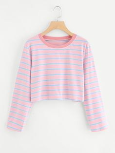 Shop Contrast Striped T-shirt online. SheIn offers Contrast Striped T-shirt more to fit your fashionable needs. Teen Fashion, Korean Fashion, Winter Fashion, Fashion Outfits, Fashion Black, Fast Fashion, Fashion Ideas, Trendy Outfits, Cool Outfits