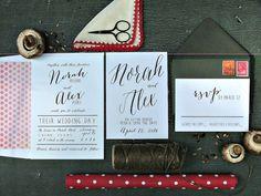 Black and white modern Wedding Invitations by sweetinvitationco, $3.99