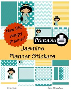 New BIG Happy Planner Jasmine Aladdin PDF PRINTABLE Planner Stickers Erin Condren Planner Filofax Plum Paper Decorating Kit Disney by WhimsicalWende on Etsy