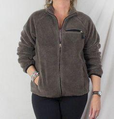 Lands End Fleece Jacket M 10 12 size Womens Brown Plush Zip Front Pockets Ski #LandsEnd #FleeceJacket