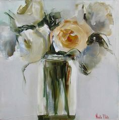 Artwork of Nicole Pletts exhibited at Robertson Art Gallery. Original art of more than 60 top South African Artists - Since Red Artwork, Acrylic Artwork, Rose Oil Painting, Abstract Flower Art, Gold Leaf Art, Mini Canvas Art, Cottage Art, Art Gallery, Flower Vases