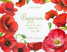 Watercolor poppies flowers clipart poppy hand painted watercolor watercolor poppies flowers clipart poppy hand painted watercolor flowers wedding invitation mightylinksfo
